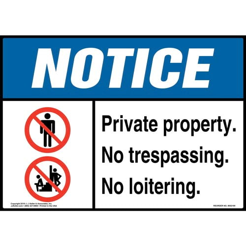 Notice: Private Property, No Trespassing or Loitering Sign with Icons - ANSI (014608)