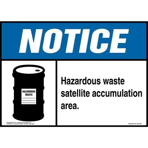 Notice: Hazardous Waste Satellite Accumulation Area Sign with Icon - ANSI (014697)