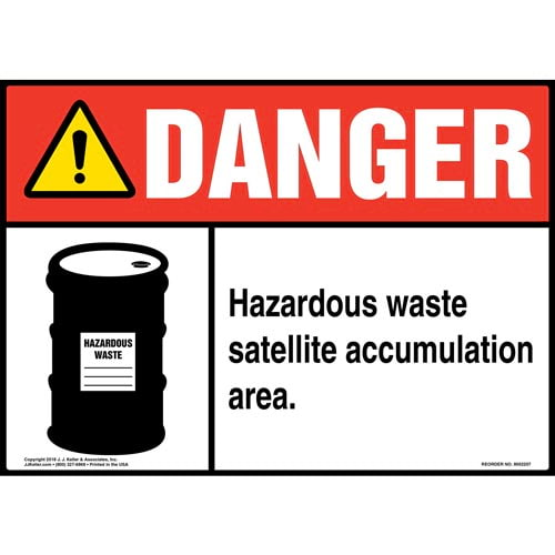 Danger: Hazardous Waste Satellite Accumulation Area Sign with Icon - ANSI (014700)