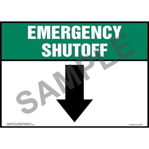 Emergency Shutoff with Down Arrow Sign (014743)