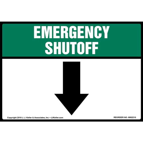 Emergency Shutoff with Down Arrow Label (014744)