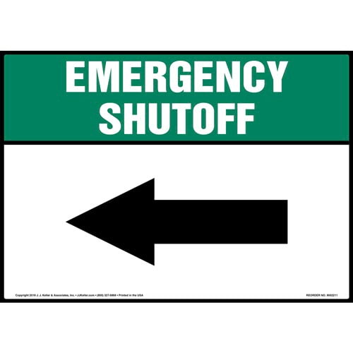 Emergency Shutoff with Left Arrow Sign (014745)