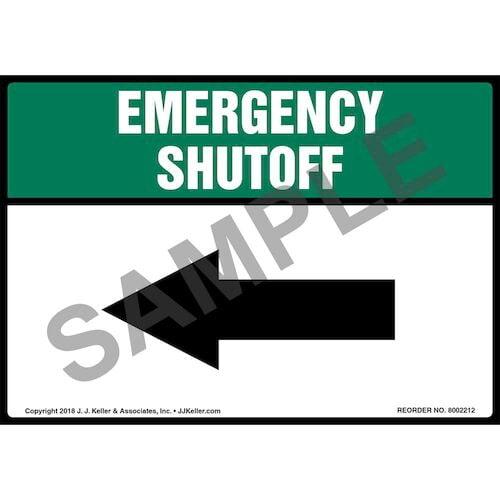 Emergency Shutoff with Left Arrow Label (014746)
