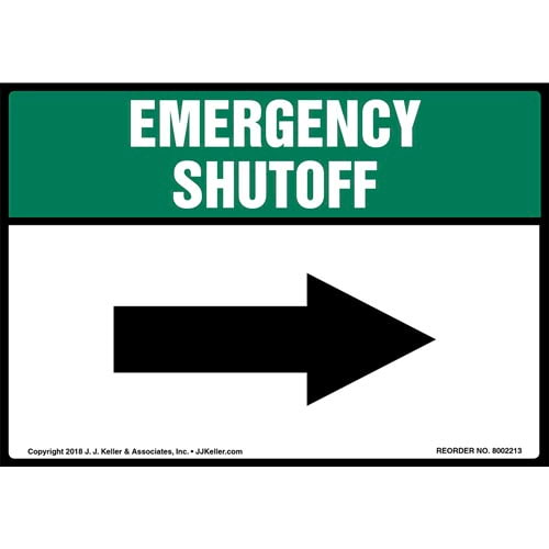 Emergency Shutoff with Right Arrow Label (014748)