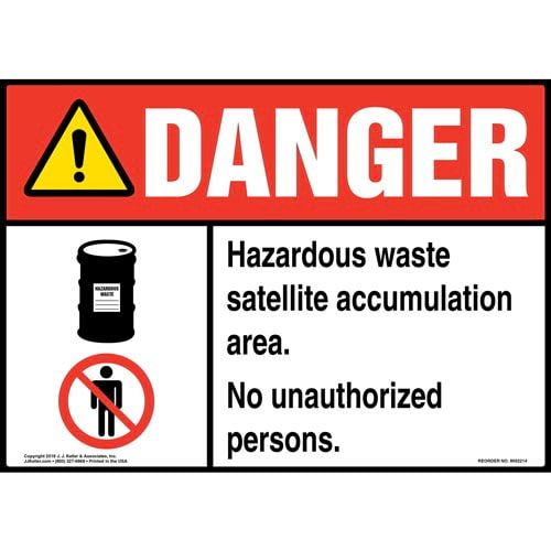 Danger: Hazardous Waste Satellite Area, No Unauthorized Persons Sign with Icons - ANSI (014701)