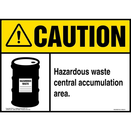 Caution: Hazardous Waste Central Accumulation Area Sign with Icon - ANSI (014703)