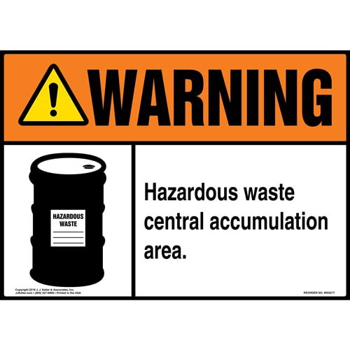 Warning: Hazardous Waste Central Accumulation Area Sign with Icon - ANSI (014704)