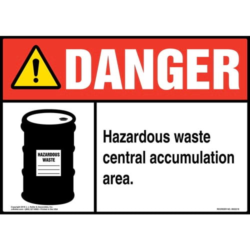 Danger: Hazardous Waste Central Accumulation Area Sign with Icon - ANSI (014705)