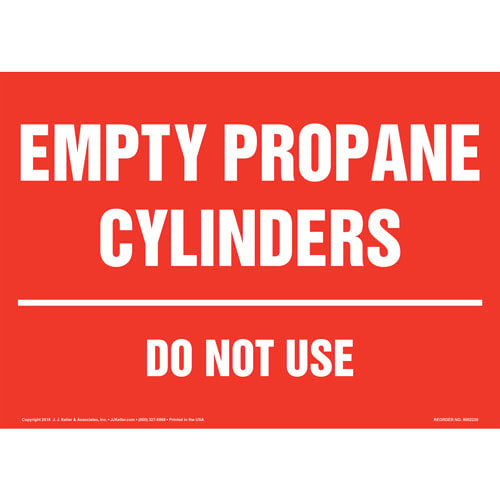Empty Propane Cylinders, Do Not Use Sign (014707)