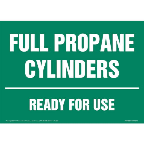 Full Propane Cylinders, Ready for Use Sign (014708)