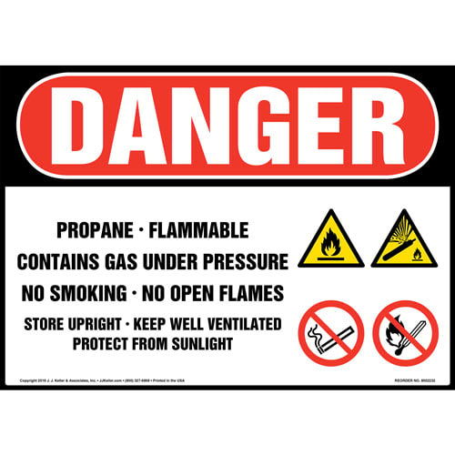 Danger: Propane Gas Under Pressure Sign with Icons - OSHA (014719)