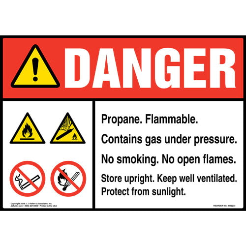 Danger: Propane Gas Under Pressure Sign with Icons - ANSI (014720)