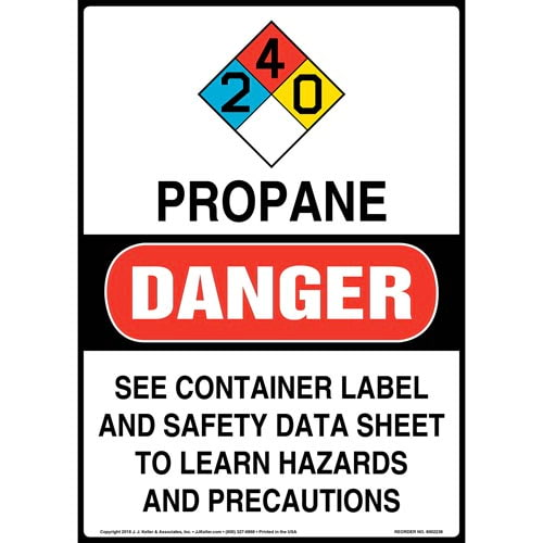 Danger: Propane Gas May Explode, Cause Suffocation Sign with Icons - OSHA, Long Format (014725)