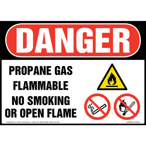Danger: Propane Gas, Flammable, No Smoking or Open Flame Sign with Icons - OSHA (014727)