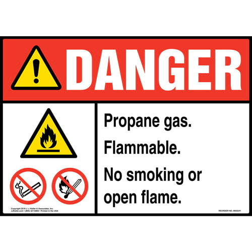 Danger: Propane Gas, Flammable, No Smoking or Open Flame Sign with Icons - ANSI (014728)