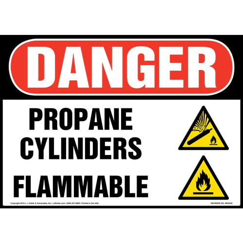 Danger: Propane Cylinders Flammable Sign with Icons - OSHA (014729)