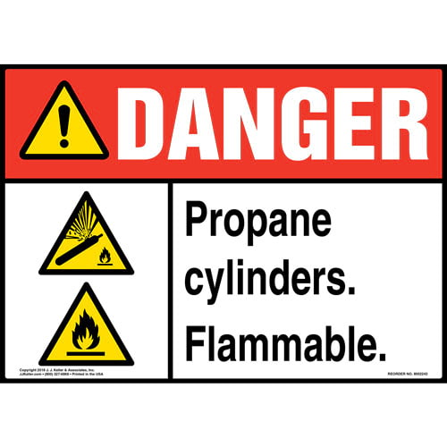 Danger: Propane Cylinders Flammable Sign with Icons - ANSI (014730)