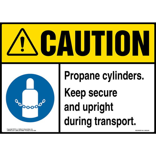 Caution: Propane Cylinders, Keep Secure and Upright Sign with Icon - ANSI (014732)