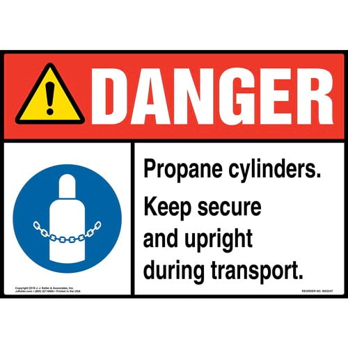 Danger: Propane Cylinders, Keep Secure and Upright Sign with Icon - ANSI (014734)