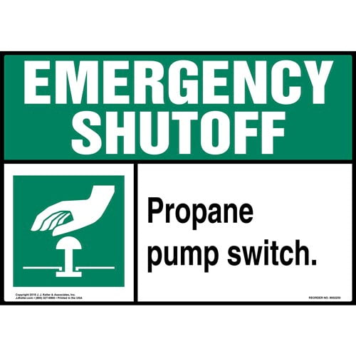 Emergency Shutoff: Propane Pump Switch Sign (014737)