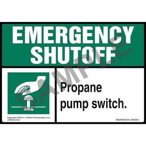 Emergency Shutoff: Propane Pump Switch Label (014738)