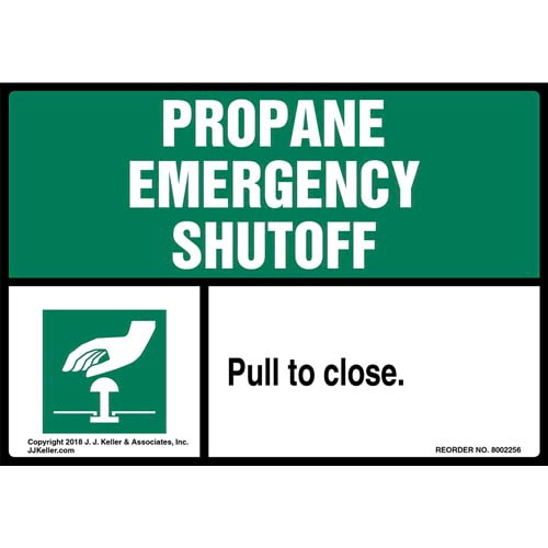 Propane Emergency Shutoff: Pull To Close Label (014740)