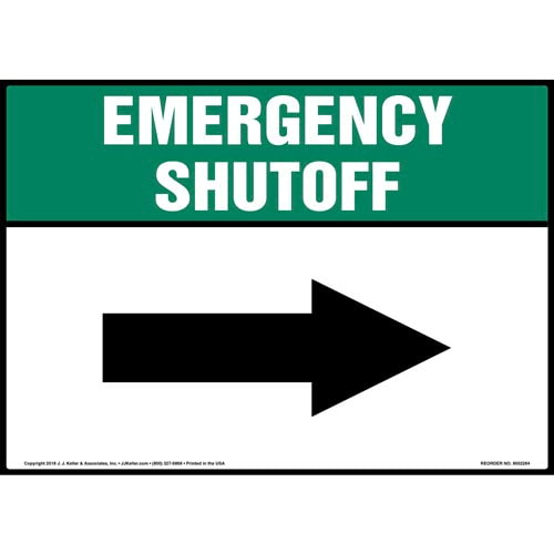 Emergency Shutoff with Right Arrow Sign (014747)