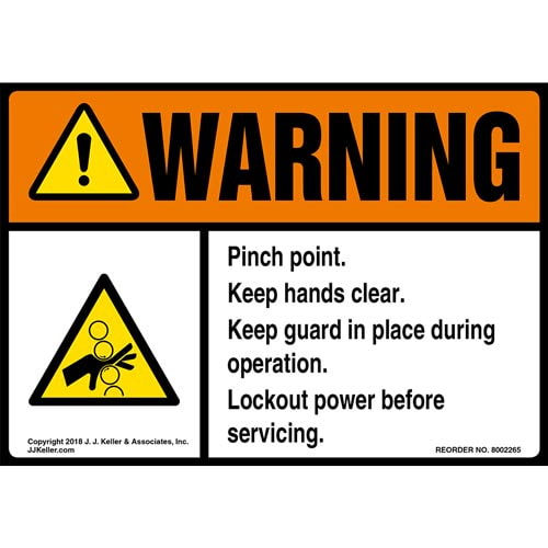 Warning: Keep Hands Clear Label with Icon - ANSI (014761)
