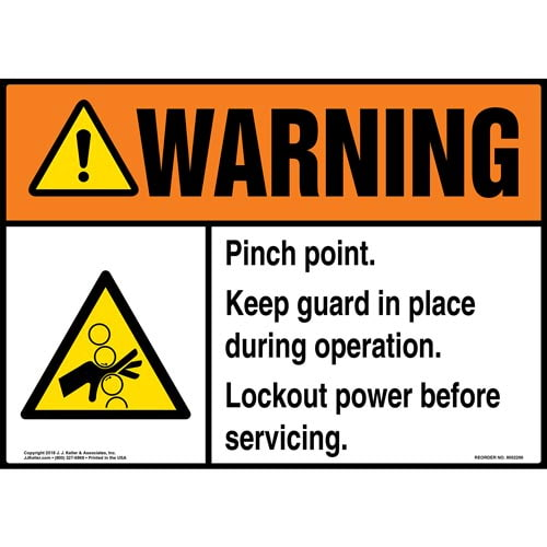 Warning: Keep Guard in Place, Lockout Power Sign with Icon - ANSI (014762)