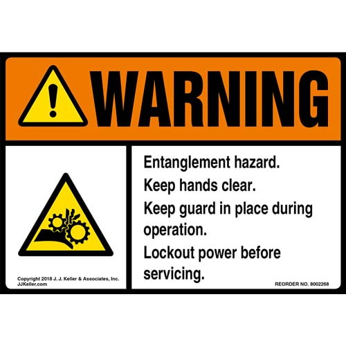 Warning: Entanglement Hazard, Keep Hands Clear Label with Icon - ANSI (014763)