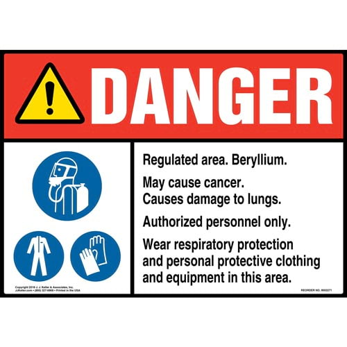 Danger: Regulated Area, Beryllium, May Cause Cancer Sign with Icons - ANSI (014782)