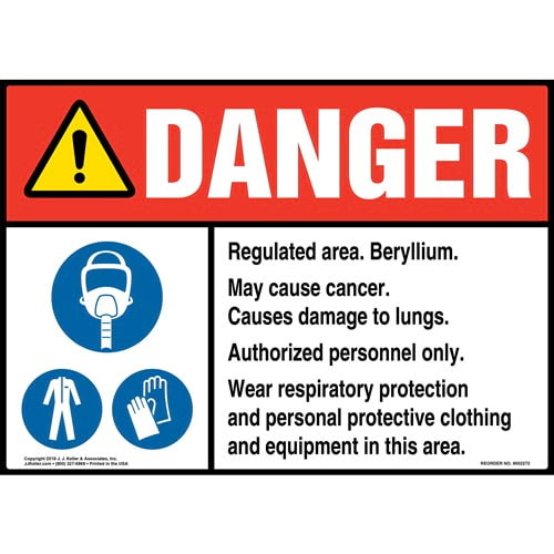 Danger: Regulated Area, Beryllium, May Cause Cancer Sign with Icons - ANSI (014783)