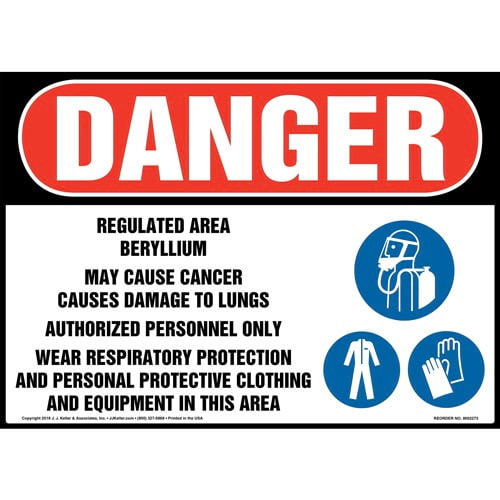 Danger: Regulated Area, Beryllium, May Cause Cancer, Wear PPE Sign with Icons - ANSI (014784)