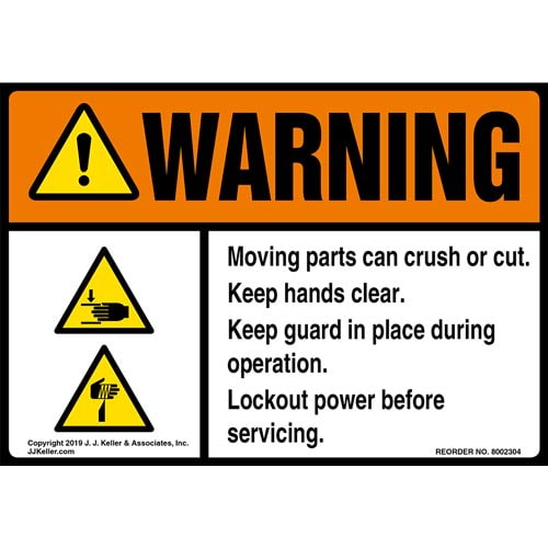 Warning: Moving Parts Can Crush Or Cut, Keep Hands Clear Label with Icons - ANSI (015212)