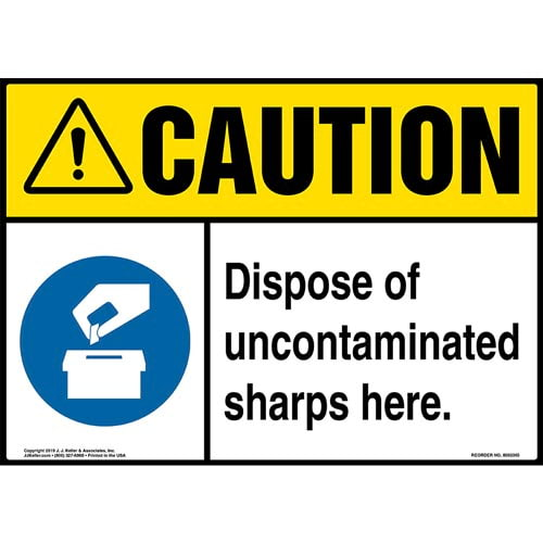 Caution: Dispose Of Uncontaminated Sharps Here Sign with Icons - ANSI (015497)