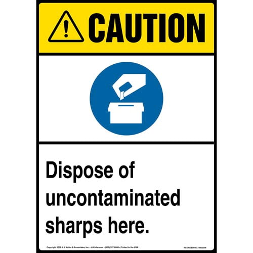 Caution: Dispose Of Uncontaminated Sharps Here Sign with Icons - ANSI, Long Format (015498)