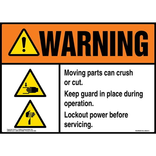 Warning: Moving Parts Can Crush Or Cut, Keep Guard In Place During Operation Sign with Icons - ANSI (015213)