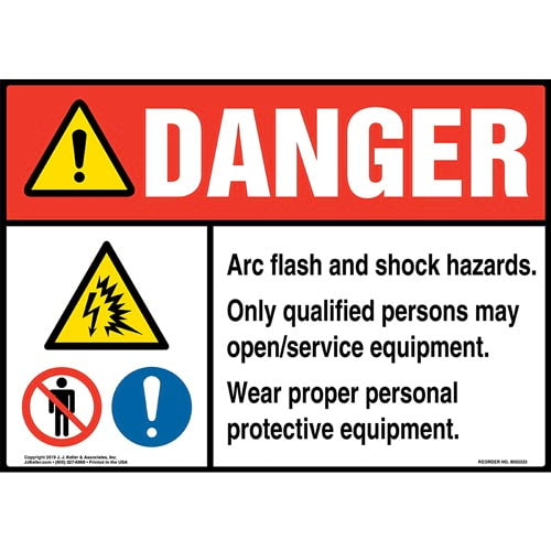 Danger: Arc Flash And Shock Hazards, Only Qualified Persons May Open/Service Equipment Sign with Icons - ANSI (015222)
