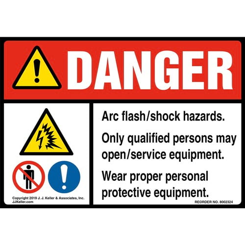 Danger: Arc Flash/Shock Hazards, Only Qualified Persons May Open/Service Equipment Label with Icons - ANSI (015223)