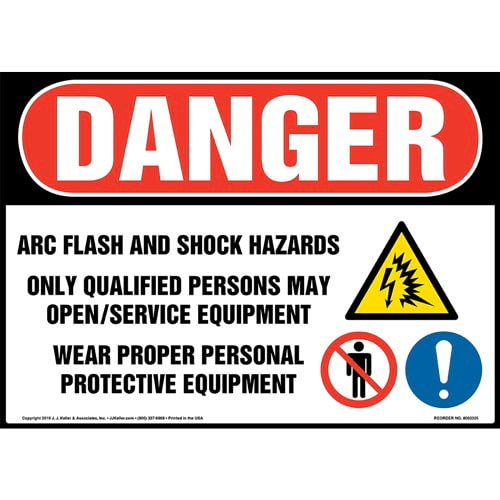 Danger: Arc Flash And Shock Hazards, Only Qualified Persons May Open/Service Equipment Sign with Icons - OSHA (015224)
