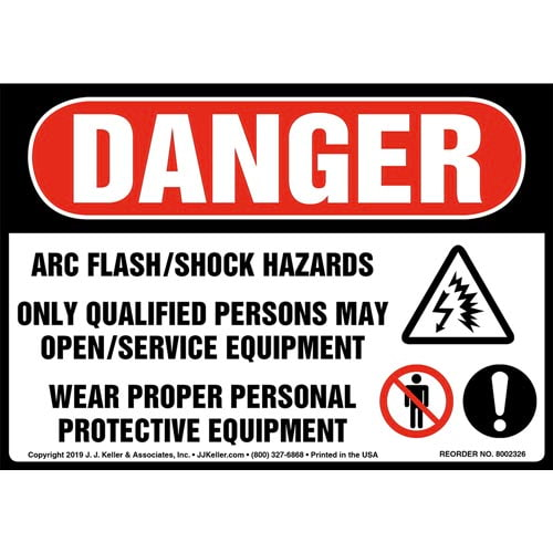 Danger: Arc Flash/Shock Hazards, Only Qualified Persons May Open/Service Equipment Label with Icons - OSHA (015225)