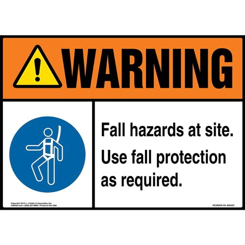 Warning: Fall Hazards At Site, Use Fall Protection As Required Sign with Icon - ANSI (015226)