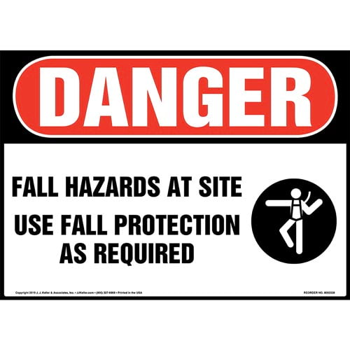 Danger: Fall Hazards At Site, Use Fall Protection As Required Sign with Icon - OSHA (015227)