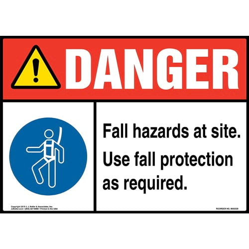 Danger: Fall Hazards At Site, Use Fall Protection As Required Sign with Icon - ANSI (015228)