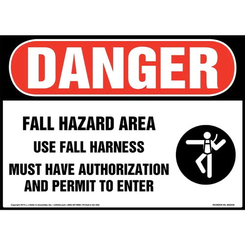 Danger: Fall Hazard Area, Use Fall Harness Sign with Icon - OSHA (015229)