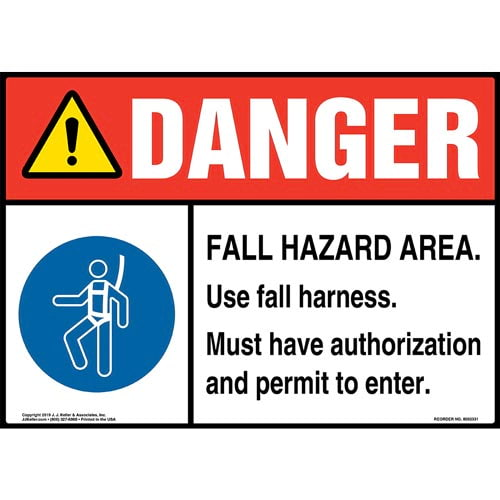 Danger: Fall Hazard Area, Use Fall Harness Sign with Icon - ANSI (015230)