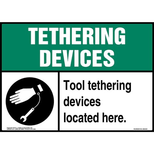 Tool Tethering Devices Located Here Sign with Icon - ANSI (015234)