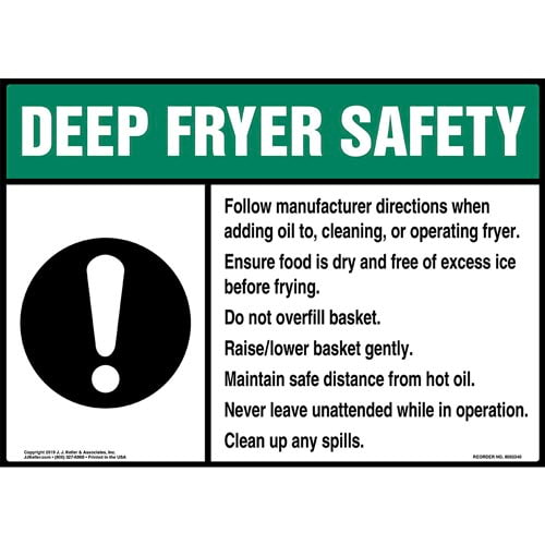 Deep Fryer Safety Sign with Icon - ANSI (015239)