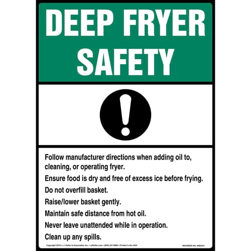 Deep Fryer Safety Sign with Icon - ANSI, Long Format (015240)