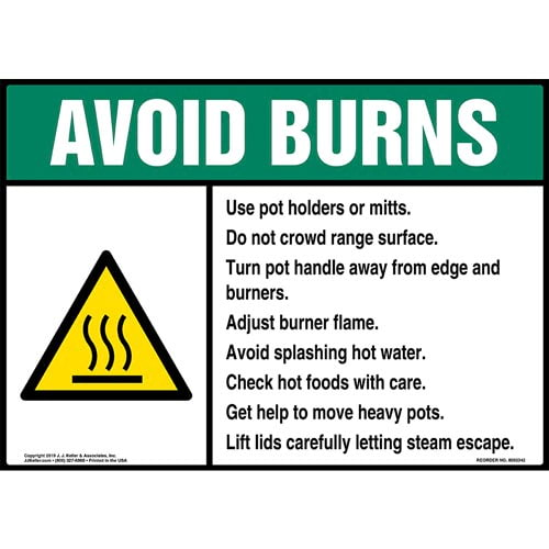 Avoid Burns Sign with Icon - ANSI (015241)